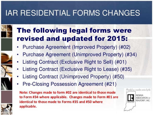 2015 Iar Residential Forms Changes
