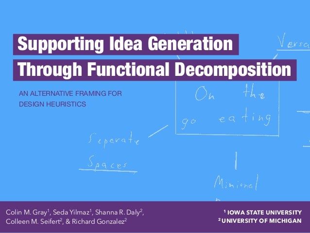 Supporting Idea Generation Through Functional Decomposition AN ALTERNATIVE FRAMING FOR 