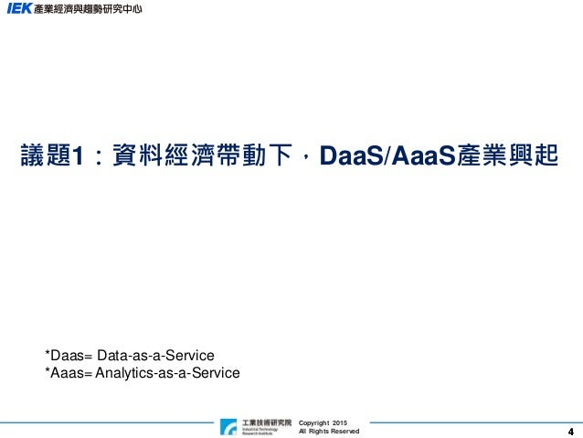 44 Copyright 2015 All Rights Reserved 議題1:資料經濟帶動下,DaaS/AaaS產業興起 *Daas= Data-as-a-Service *Aaas= Analytics-as-a-Service
