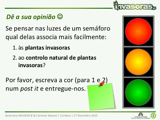 Seminário INVADER-B & Controlo Natural | Coimbra | 27 Novembro 2015 Dê a sua opinião  Se pensar nas luzes de um semáforo ...