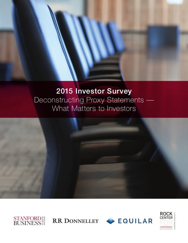 2015 Investor Survey Deconstructing Proxy Statements — What Matters to Investors