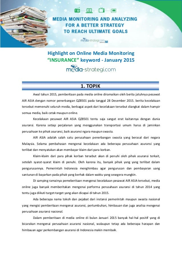 "Highlight on Online Media Monitoring ""INSURANCE"" keyword - January 2015 Awal tahun 2015, pemberitaan pada media online dir..."