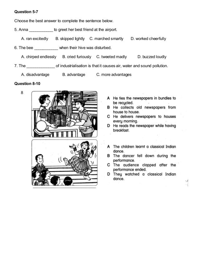 Year 5 English Test Papers