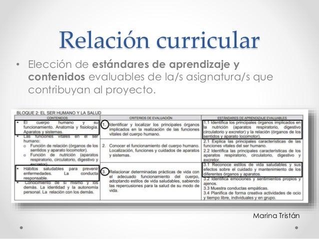 Relación curricular • Elección de estándares de aprendizaje y contenidos evaluables de la/s asignatura/s que contribuyan a...
