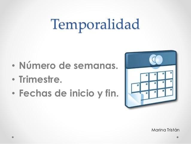 Temporalidad • Número de semanas. • Trimestre. • Fechas de inicio y fin. Marina Tristán