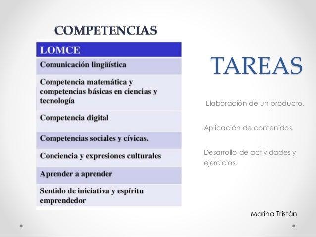 TAREAS Elaboración de un producto. Aplicación de contenidos. Desarrollo de actividades y ejercicios. Marina Tristán