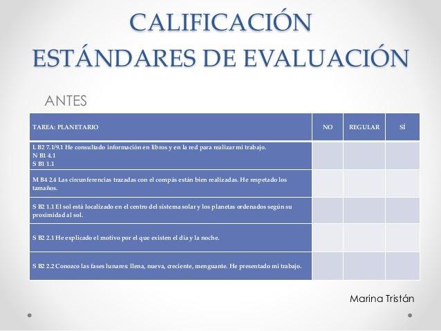 CALIFICACIÓN ESTÁNDARES DE EVALUACIÓN ANTES TAREA: PLANETARIO NO REGULAR SÍ L B2 7.1/9.1 He consultado información en libr...