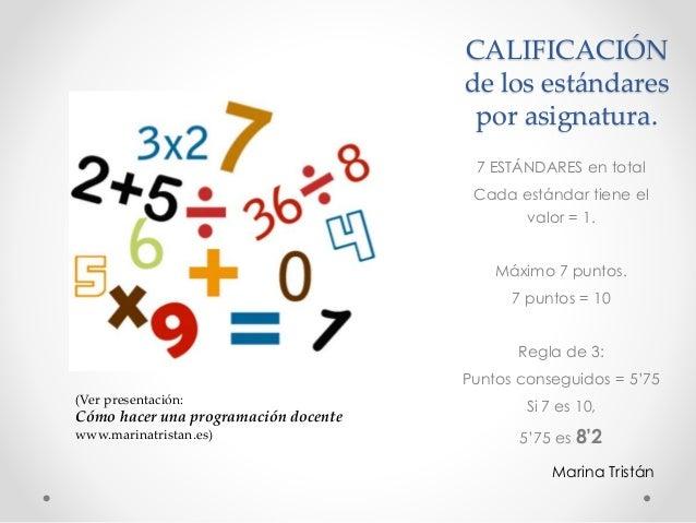CALIFICACIÓN de los estándares por asignatura. 7 ESTÁNDARES en total Cada estándar tiene el valor = 1. Máximo 7 puntos. 7 ...