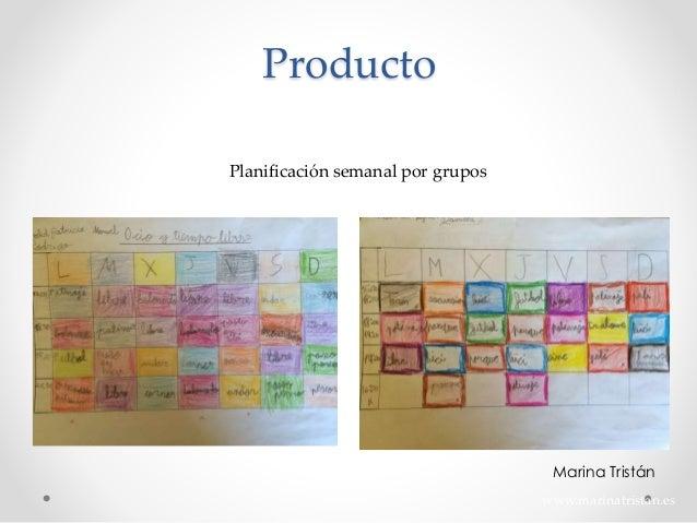 Planificación semanal por grupos www.marinatristan.es Producto Marina Tristán