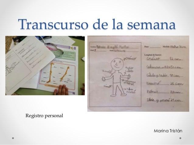 Transcurso de la semana Registro personal Marina Tristán