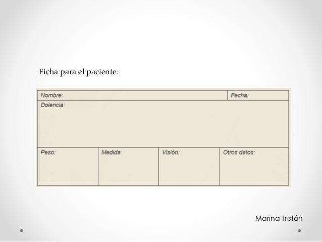 Ficha para el paciente: Marina Tristán
