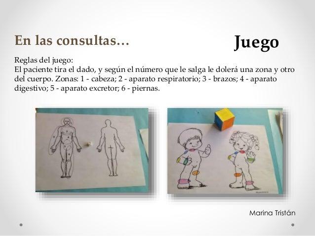 Reglas del juego: El paciente tira el dado, y según el número que le salga le dolerá una zona y otro del cuerpo. Zonas: 1 ...
