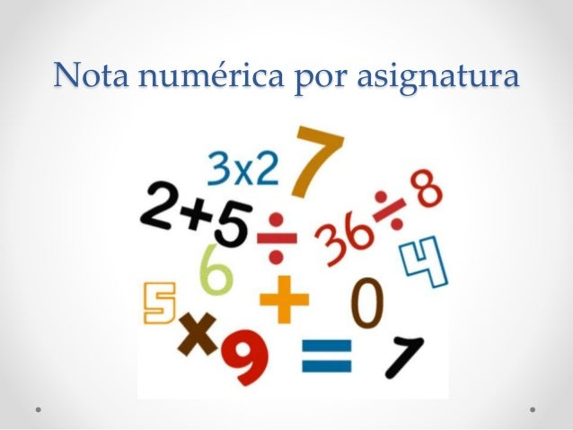 Nota numérica por asignatura