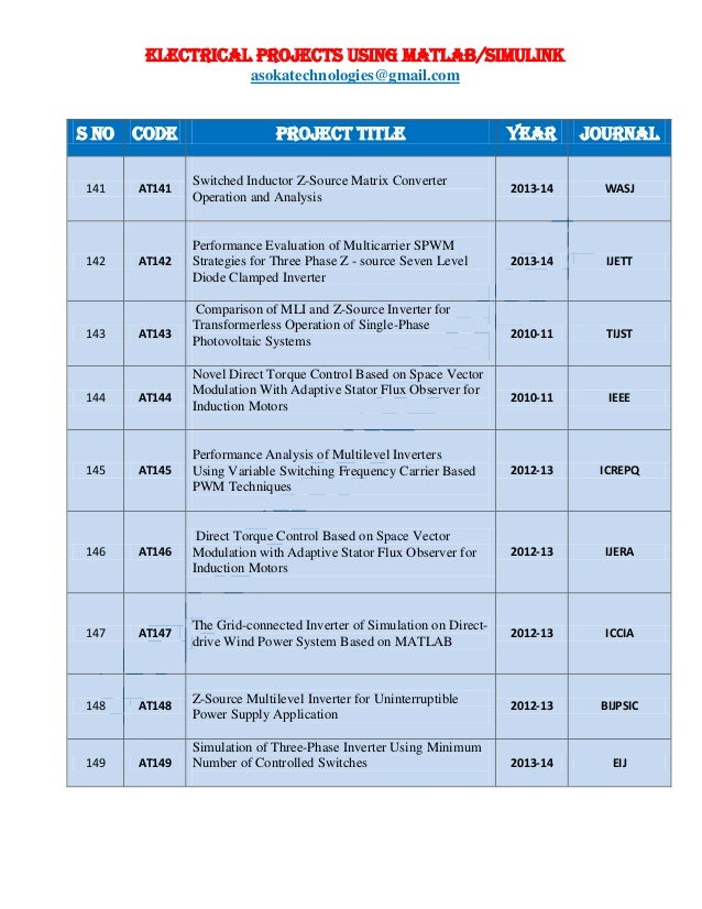 ELECTRICAL PROJECTS USING MATLAB/SIMULINK asokatechnologies@gmail.com S NO CODE PROJECT TITLE YEAR JOURNAL 141 AT141 Switc...