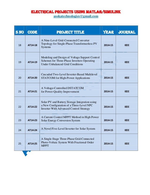ELECTRICAL PROJECTS USING MATLAB/SIMULINK asokatechnologies@gmail.com S NO CODE PROJECT TITLE YEAR JOURNAL 18 AT14-18 A Ni...