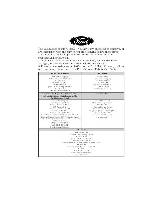 2015 lincoln vehicle warranty information indianapolis for Ford motor company customer relationship center