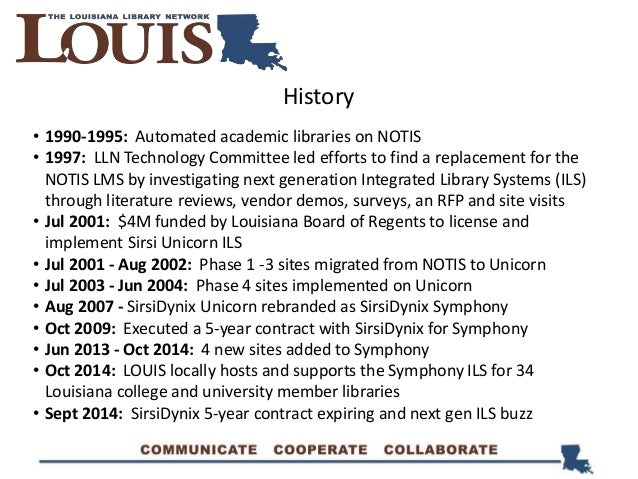 History • 1990-1995: Automated academic libraries on NOTIS • 1997: LLN Technology Committee led efforts to find a replacem...