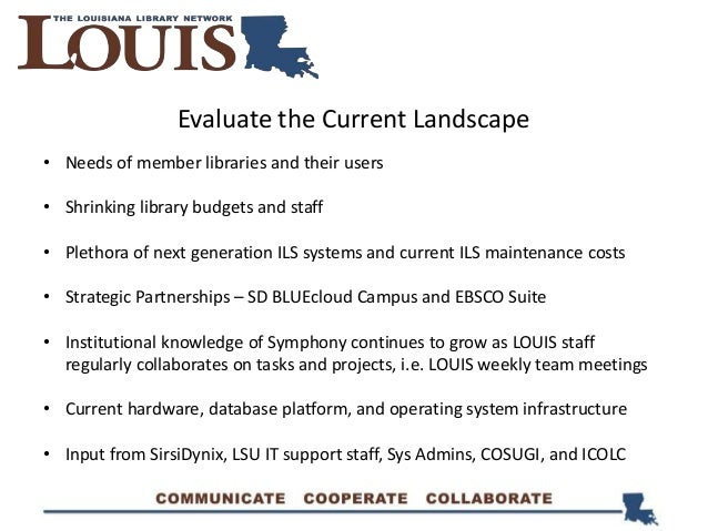 • Needs of member libraries and their users • Shrinking library budgets and staff • Plethora of next generation ILS system...