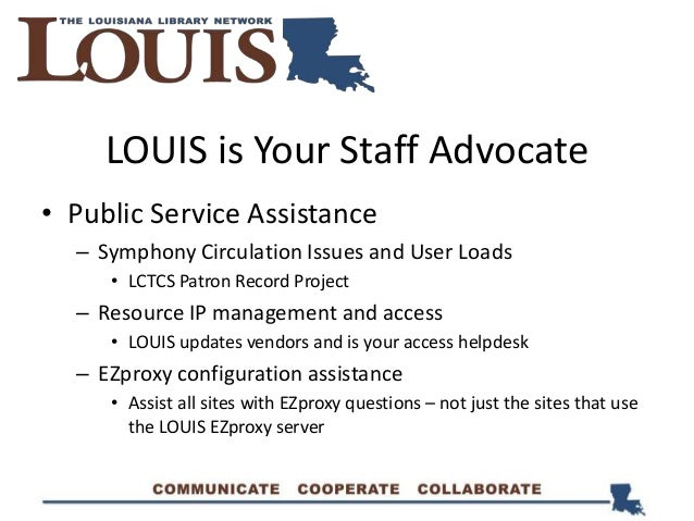 LOUIS is Your Staff Advocate • Public Service Assistance – Symphony Circulation Issues and User Loads • LCTCS Patron Recor...
