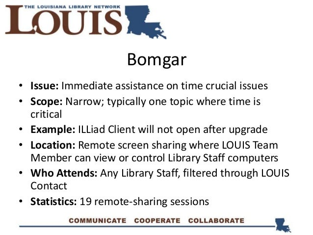 Bomgar • Issue: Immediate assistance on time crucial issues • Scope: Narrow; typically one topic where time is critical • ...