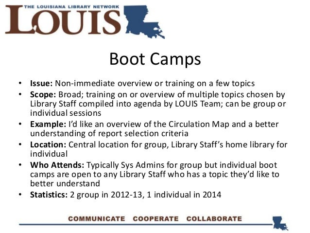 Boot Camps • Issue: Non-immediate overview or training on a few topics • Scope: Broad; training on or overview of multiple...