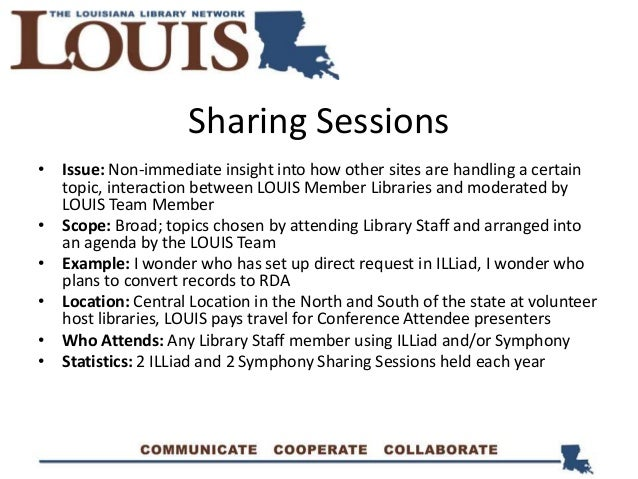 Sharing Sessions • Issue: Non-immediate insight into how other sites are handling a certain topic, interaction between LOU...