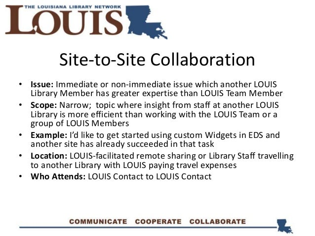 Site-to-Site Collaboration • Issue: Immediate or non-immediate issue which another LOUIS Library Member has greater expert...
