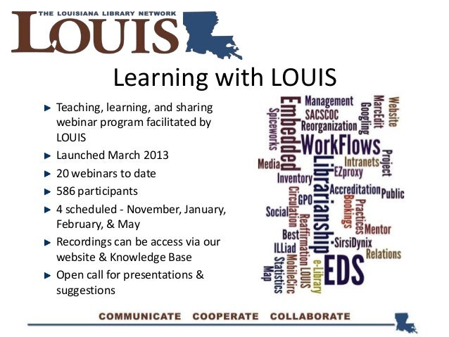 Learning with LOUIS Teaching, learning, and sharing webinar program facilitated by LOUIS Launched March 2013 20 webinars t...