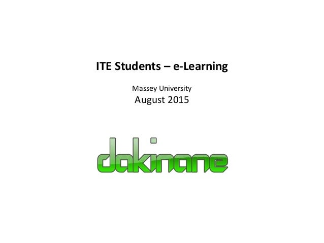 ITE Students – e-Learning Massey University August 2015