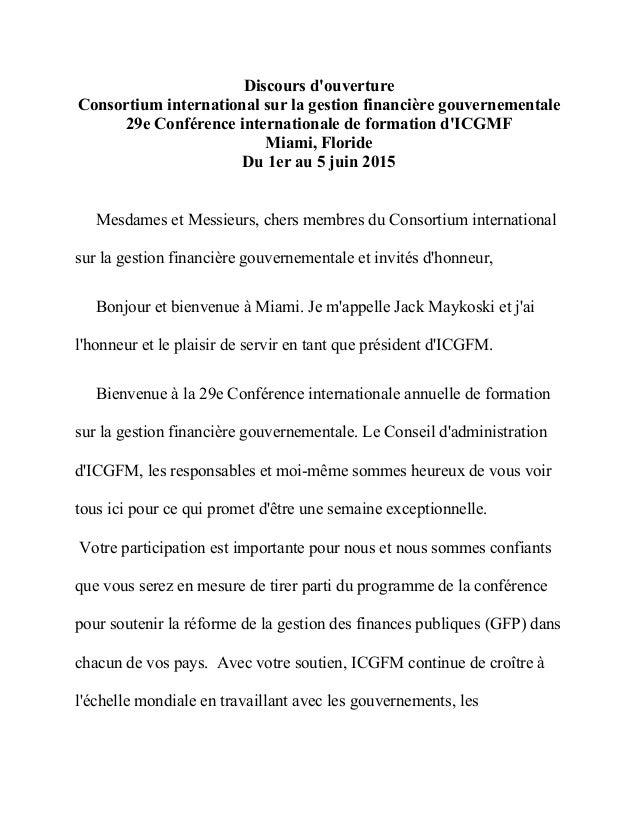 Discours d'ouverture Consortium international sur la gestion financière gouvernementale 29e Conférence internationale de f...