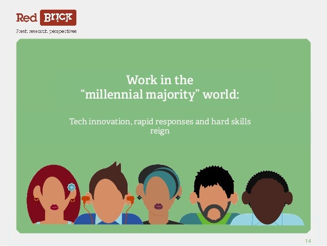 """Work in the  """"millennial majority"""" world:  Tech innovation, rapid responses and hard skills  reign  Red Brick Research 14"""
