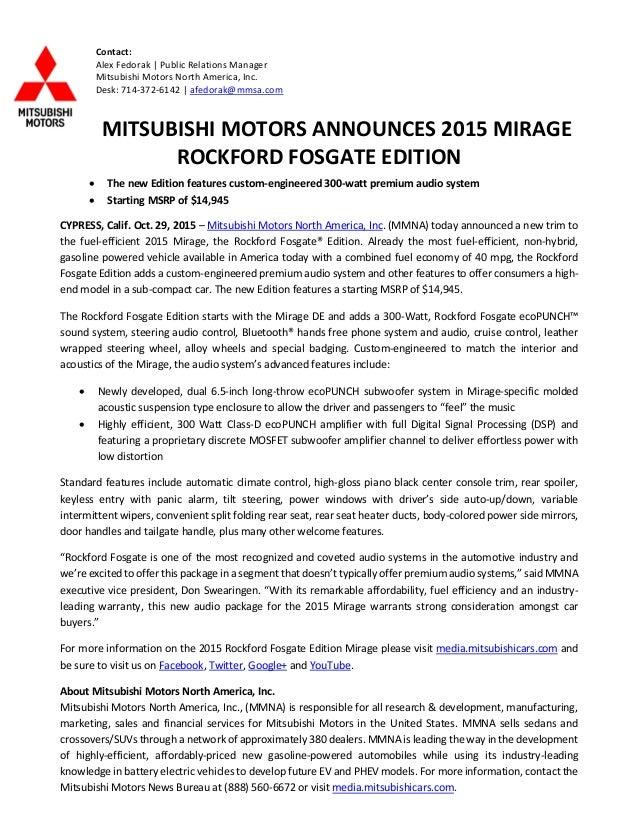 Contact: Alex Fedorak | Public Relations Manager Mitsubishi Motors North  America, Inc. Desk ...