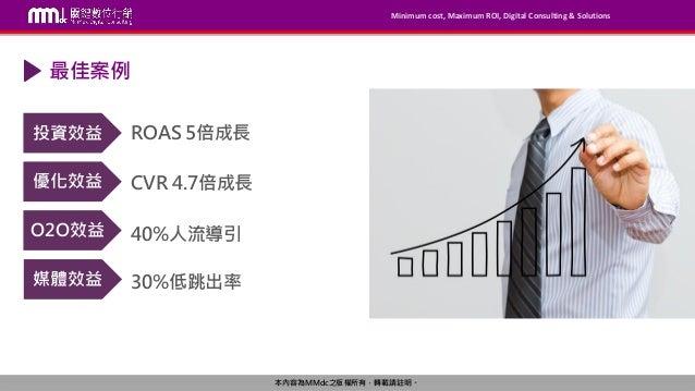 Minimum cost, Maximum ROI, Digital Consulting & Solutions 本內容為MMdc之版權所有,轉載請註明。 ROAS 5倍成長 最佳案例 投資效益 優化效益 O2O效益 媒體效益 CVR 4.7...