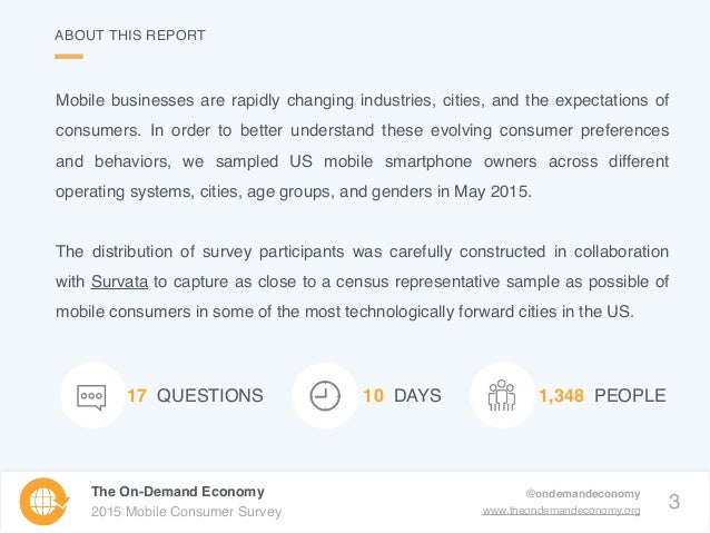3 The On-Demand Economy 2015 Mobile Consumer Survey @ondemandeconomy www.theondemandeconomy.org 17 QUESTIONS 1,348 PEOPLE1...