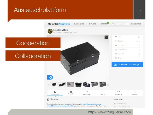 11 http://www.thingiverse.com Cooperation Collaboration Austauschplattform
