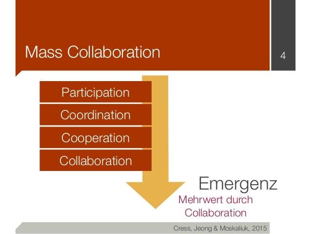 Mass Collaboration 4 Participation Coordination Cooperation Collaboration Cress, Jeong & Moskaliuk, 2015 Emergenz Mehrwert...