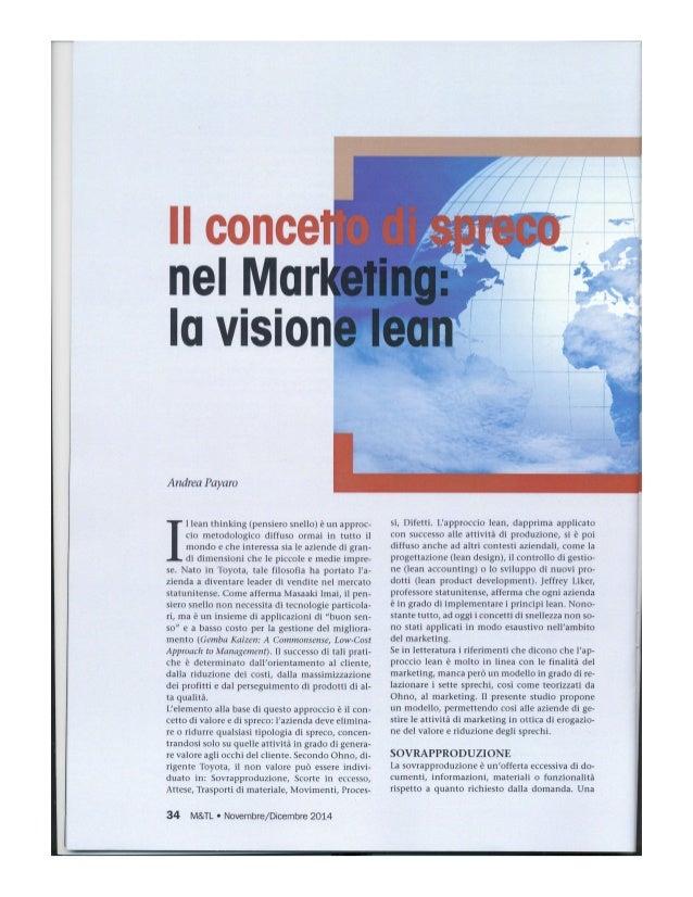 llconce nel _lV| _ur la vision  Andrea Payaro  I lean thinking (pensiero snello) é un approc- cio metodologico diffuso orm...