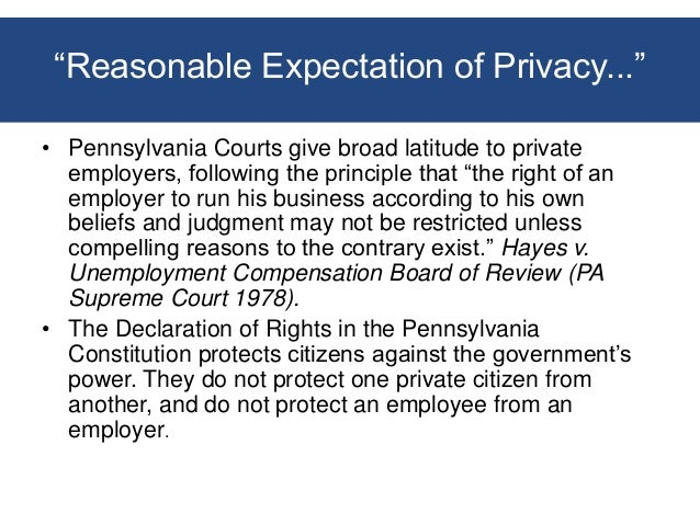 Workplace Behavior and Privacy Issues - Employer Responses