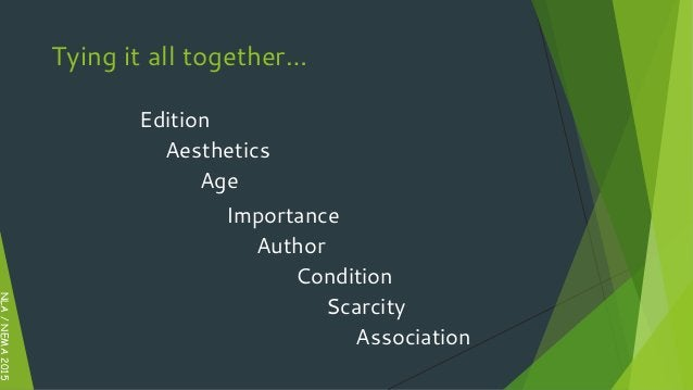 Edition Aesthetics Age Author Importance Scarcity Condition Association NLA/NEMA2015 Tying it all together…