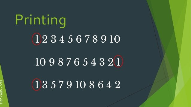 1 2 3 4 5 6 7 8 9 10 10 9 8 7 6 5 4 3 2 1 1 3 5 7 9 10 8 6 4 2 NLA/NEMA2015 Printing