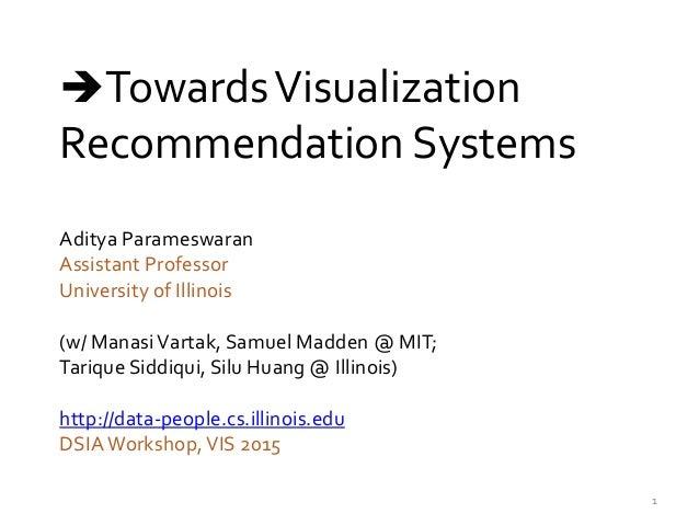 Aditya Parameswaran Assistant Professor University of Illinois (w/ ManasiVartak, Samuel Madden @ MIT; Tarique Siddiqui, Si...