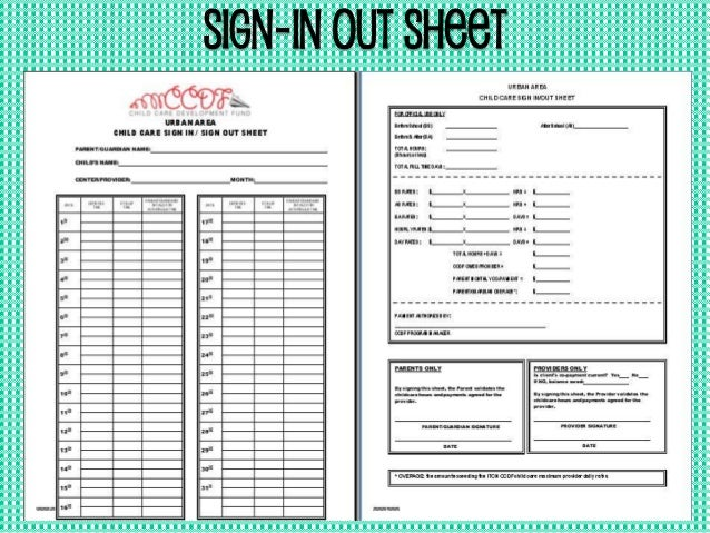 Sign In Out Sheet 2015 Ccdf Parent Orientation