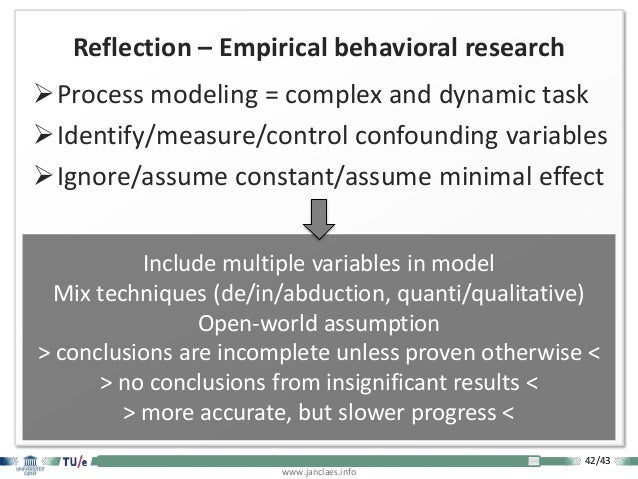 42/43 www.janclaes.info INTRODUCTION VISUALIZATION EXPLORATION THEORIZATION CONCLUSION Reflection – Empirical behavioral r...