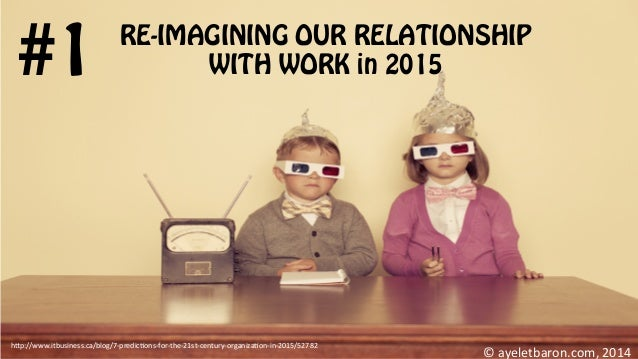 RE-IMAGINING OUR RELATIONSHIP WITH WORK in 2015#1 ©  ayeletbaron.com,  2014   h;p://www.itbusiness.ca/blog/7-‐predi...
