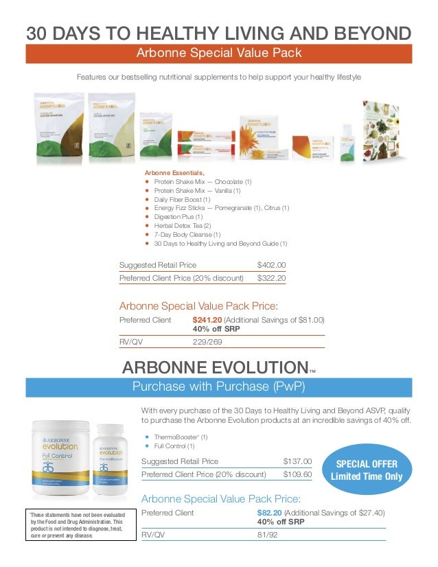 Asvp Arbonne Special Value Packs