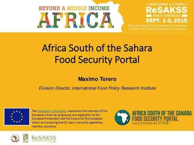 Africa South of the Sahara Food Security Portal Maximo Torero Division Director, International Food Policy Research Instit...