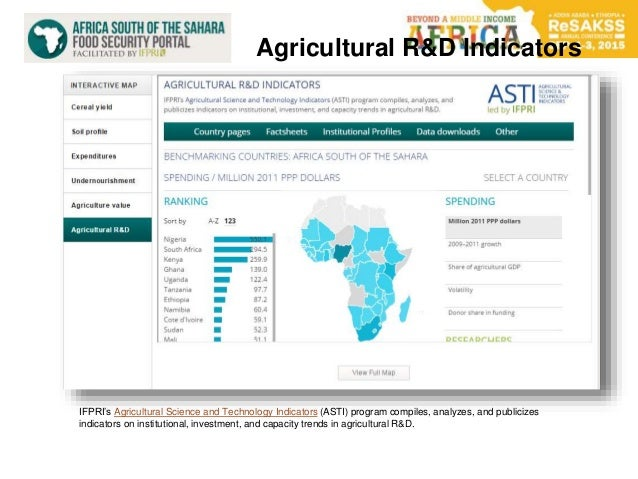 Agricultural R&D Indicators IFPRI's Agricultural Science and Technology Indicators (ASTI) program compiles, analyzes, and ...