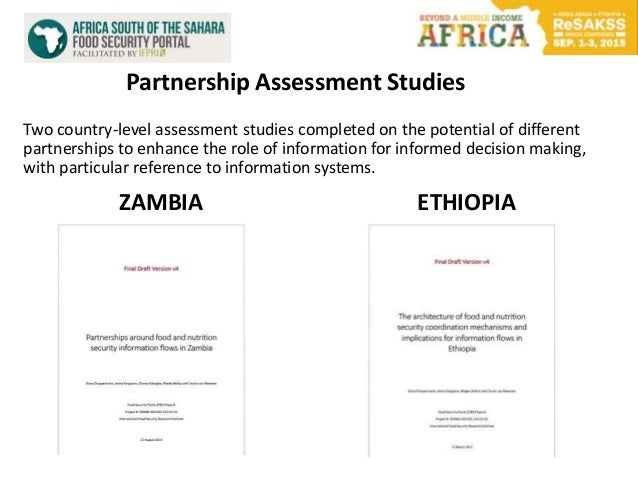 Partnership Assessment Studies Two country-level assessment studies completed on the potential of different partnerships t...
