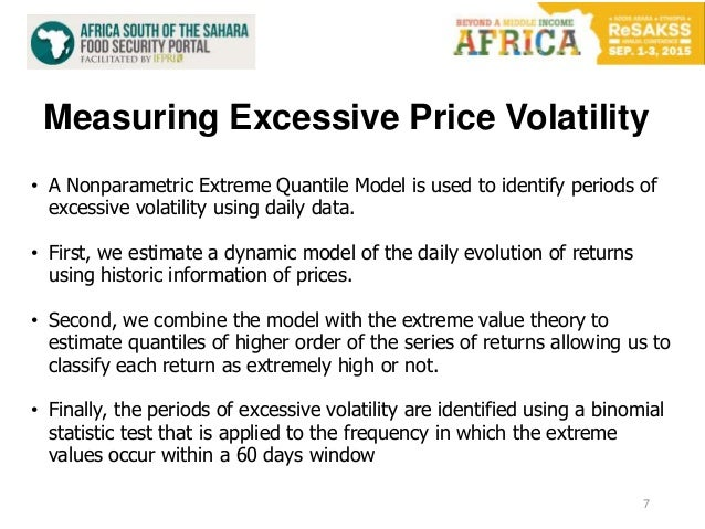 Measuring Excessive Price Volatility 7 • A Nonparametric Extreme Quantile Model is used to identify periods of excessive v...