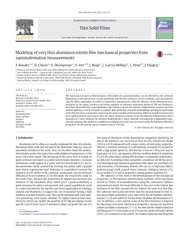 Modeling of very thin aluminum nitride film mechanical properties from nanoindentation measurements F. Roudet a, ⁎, D. Chic...